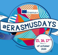 infographie avec texte : #ErasmusDays. 15,16,17th of october 2020. logo Europe Erasmus +
